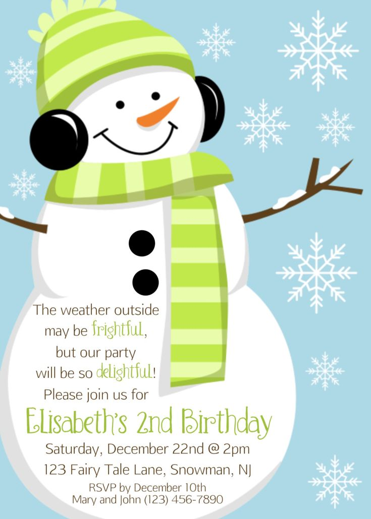 Snowman Invitation - Personalized Custom Winter Christmas Snowman Snowflake Holiday Party Invitation Print Your Own