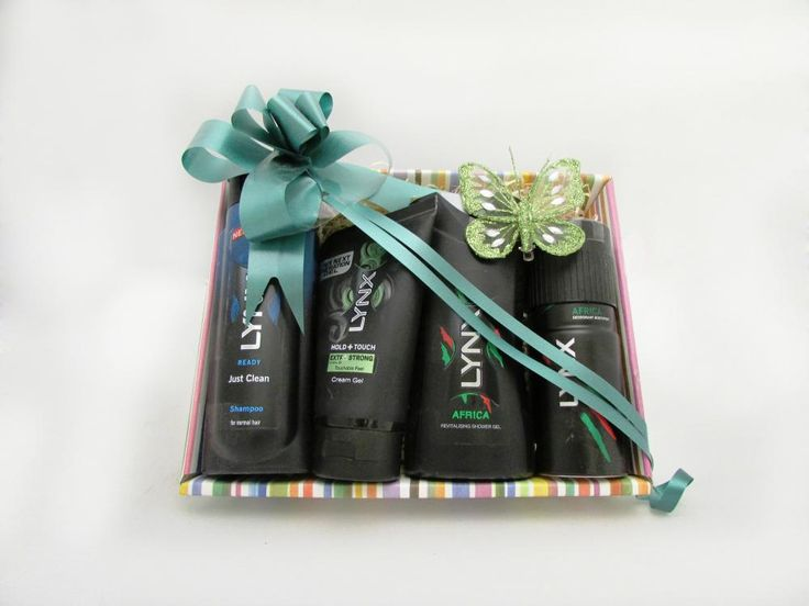 Spray more, get more. The Lynx gift set of Lynx Ready Just Clean Shampoo, Lynx Africa Deodorant Bodyspray, Lynx Hold + Touch Cream Gel and Lynx Africa Revitalising Shower Gel comes in a stylish presentation box perfect for the man in your life! Price: 14.99  http://luxuryhampers.ie/p/lynx_africa_head_to_toe_gift_set