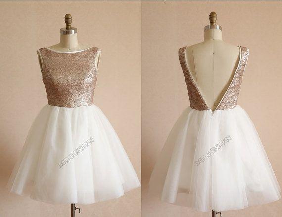 Champagne paillettes or Tulle robe demoiselle d'honneur robe/Prom robe V profond genou dos/dos-nu longueur robe courte