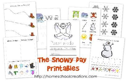 """Free printables for the book """"The Snowy Day"""" by Ezra Jack Keats. Focusing on skills for preschool to kindergarten."""