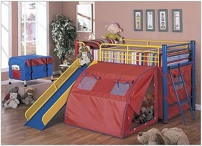 Google Image Result for http://2.bp.blogspot.com/_zrxESWFXwYc/TUtsx7MYcuI/AAAAAAAACIY/Yo3osPdOSL8/s400/2011-Multi-Color-Bunk-Bed-with-Slide-and-Tent.jpeg