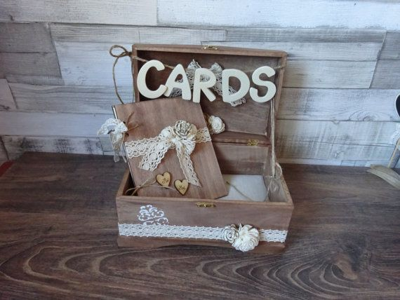 Wedding Card Box guestbook set  Rustic Wooden Card Box