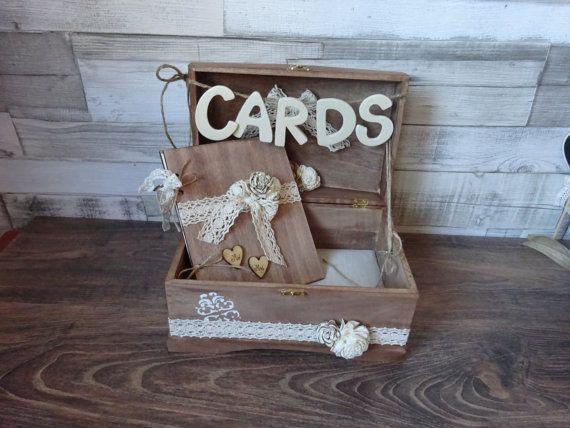 Wedding Card Box guestbook set  Rustic Wooden Card Box