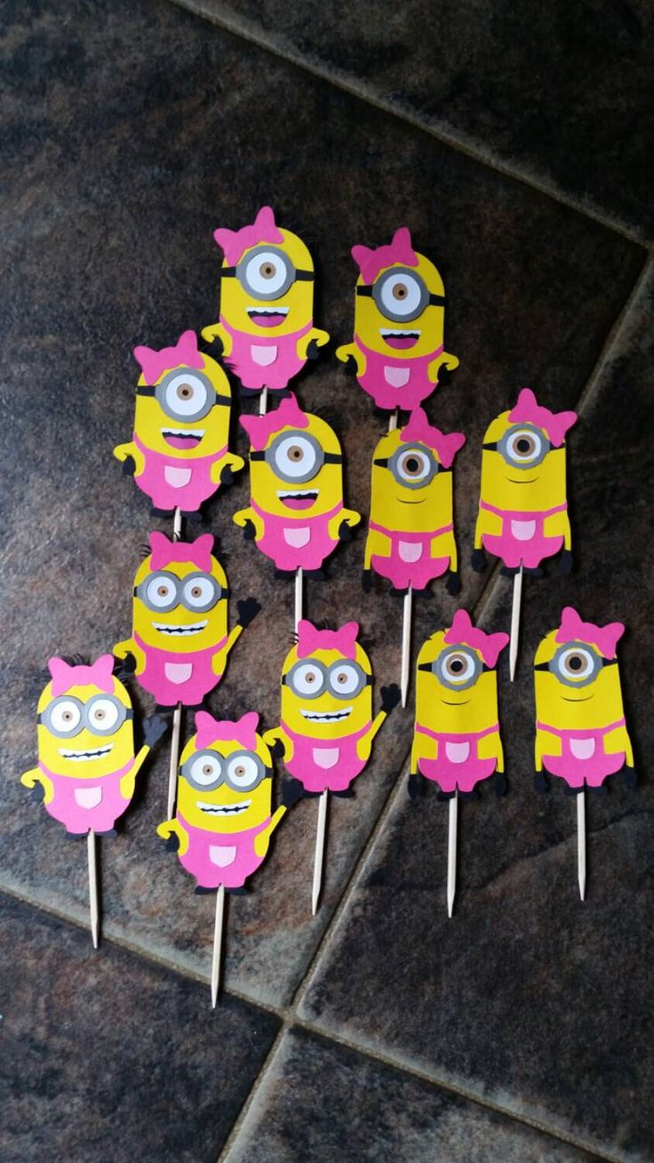 Despicable Me Girl Minion Cupcake Toppers Hot Pink with hair bow diecut cardstock Birthday party decorations picks 3 kinds set of 12 by OffTheBoardsCrafting on Etsy https://www.etsy.com/listing/235456691/despicable-me-girl-minion-cupcake