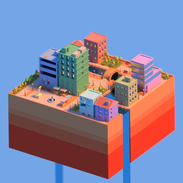 DISTINCTIVE LOOK - Low poly city by @commodore_kid on Twitter