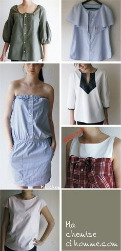 Men's shirts upcycled into a ladies funky blouse-i want to try the plaid. I've done it with knits so I know it's quick and easy