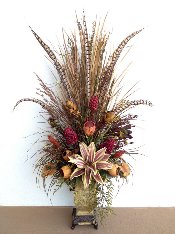 dried floral mixed arrangement for foyer console designed by arcadia floral home decor - Silk Arrangements For Home Decor