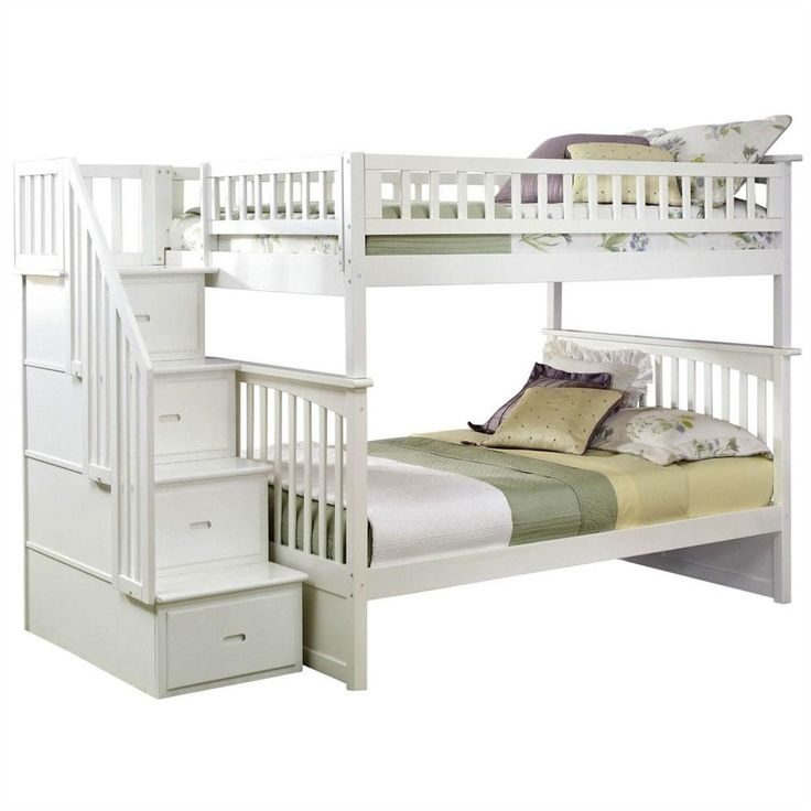 Atlantic Furniture Columbia Staircase Full over Full Bunk Bed - White Finish