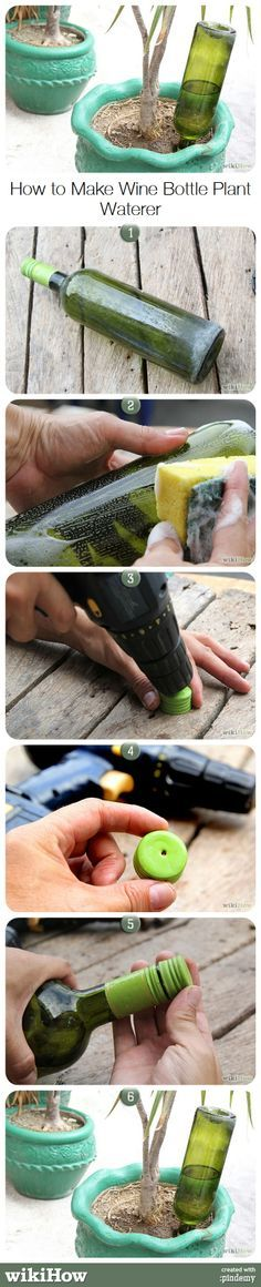 Convert an old wine bottle to make a planter watering system when you are away from home. www.ContainerWaterGardens.net