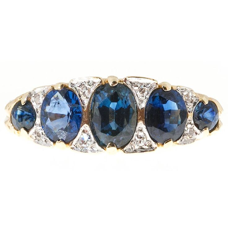 Sapphire Diamond Gold Carved Filigree Ring | From a unique collection of vintage fashion rings at https://www.1stdibs.com/jewelry/rings/fashion-rings/