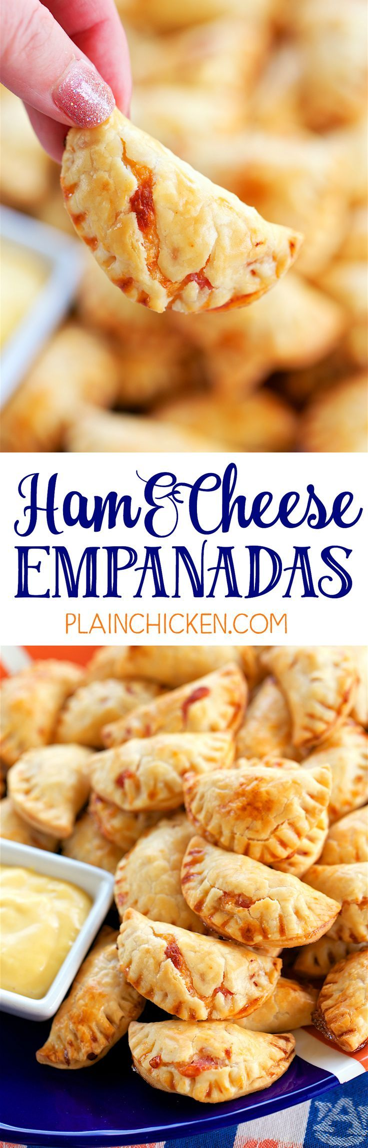 Ham and Cheese Empanadas - CRAZY good! Pie crust filled with a yummy ham and cheese filling and baked. Great for watching football and parties. Can make ahead of time and freezer for later.