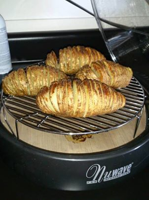 Hasselback Potatoes Cover the liner pan, cleanup is a breeze!   1.Slice potato almost all the way though. Make sure potato remains intact. 2.Mix olive oil, butter, sea salt, ground pepper, garlic powder, onion powder, cilantro flakes and soy sauce. 3.Brush potato slices with mixture, making sure every slice is coated. Brush outside of potatoes with any remaining marinade. 4.Bake on 4-inch rack on Power Level HI for 20 minutes.