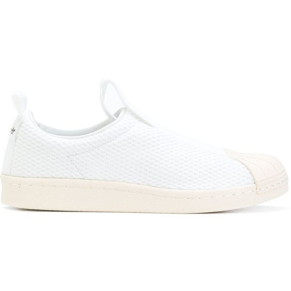 Adidas Originals Superstar slip-on sneakers ($104) ❤ liked on Polyvore featuring shoes, sneakers, white, slip-on sneakers, stretch trainer, stretch leather shoes, leather slip-on shoes and slip-on shoes