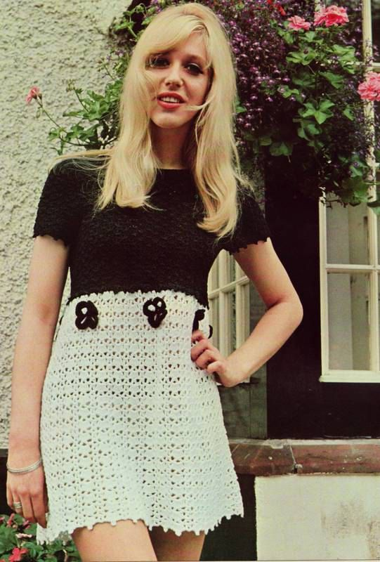 INSTANT DOWNLOAD PDF CROCHET PATTERN Black and White Mini Dress Retro Vintage    This vintage UK crochet pattern for a striking two-tone