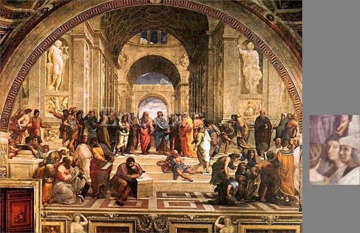 """""""간절히 소망하다""""  라파엘로, <아테네 학당>    이 작품 속에는 아테네 '학당' 답게 당대 유명했던 학자들이 여러 명 나와 있어, 화가를 찾기는 쉽지 않다. 아리스토텔레스, 플라톤 등의 유명한 학자들 사이에 검은 모자를 쓰고 정면을 응시하고 있는 라파엘로도 그려져 있다. 그는 가장 마지막 순간에 자신의 얼굴을 그려 넣었다고 한다.  학자들 사이에 끼어 마치 한 명의 학자같은 느낌을 주는 라파엘로. 자연스럽게 그림에 융화되어 유명한 학자들과 어깨를 나란히 하는 것이 그가 원했던 것이 아니었을까. 무슨 일 있냐는 듯 무표정한 그의 표정 덕에 학자들과 더욱 잘 어우러져 보이는 듯하다."""