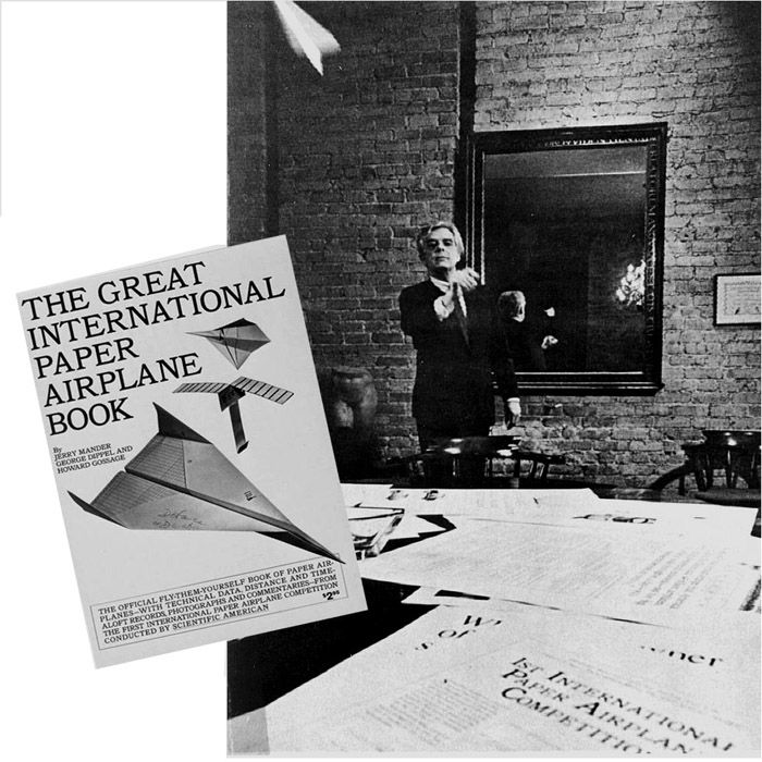 Original 'Mad Man' Howard Gossage flying a paper airplane 1967