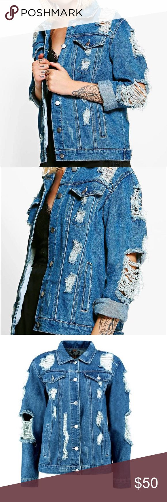 Distressed jean jacket NEW with out tags really cute distressed jean jacket! Jackets & Coats Jean Jackets