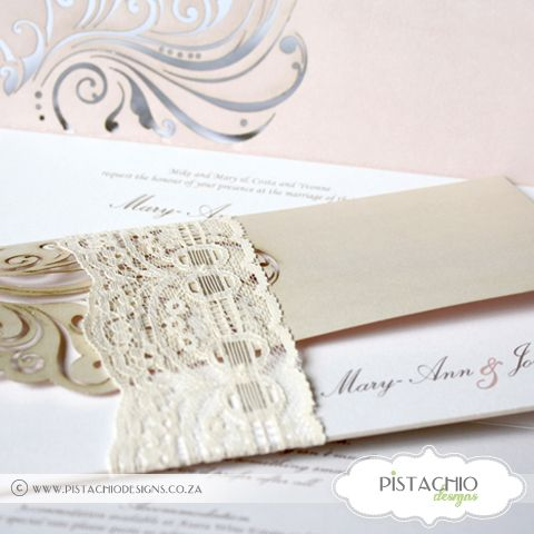 Lace Laser Romance Wedding Invitation
