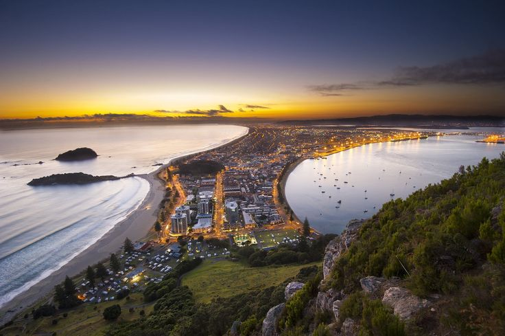 View of Mt Maunganui from the top of the Mount. Tauranga