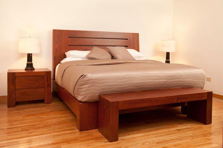 Recamara elaborada en caoba recamaras pinterest for Recamaras de madera modernas king