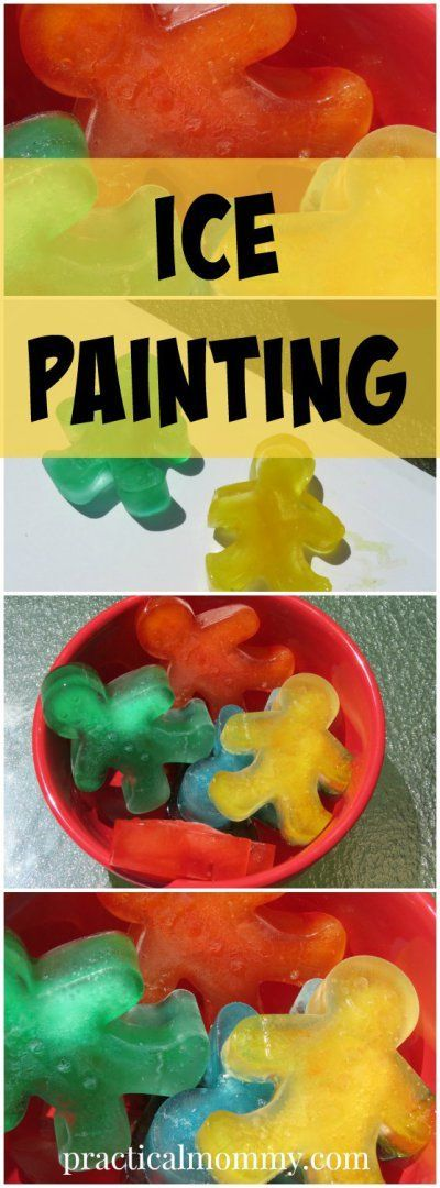 A super fun kids activity for a hot day outside - Ice Painting with Gingerbread Men Ice Cubes.