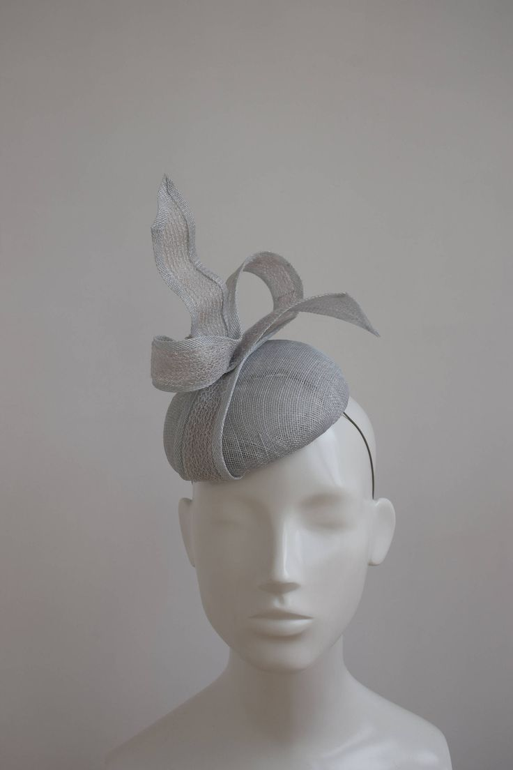 Silver Grey Cocktail Hat - Silver Grey Fascinator - Pale Grey Hatinator - Wedding Hat - Race Day Hatinator - Silver Grey Fascinator - Helma by TillyEllenMillinery on Etsy