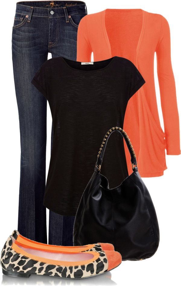 """Orange and Black"" by maizie2020 on Polyvore I have that cardigan in black n love it!!"