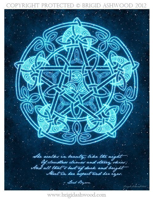 Celtic Moon Pentacle with Poem Pagan Wiccan Print by BrightArrow                                                                                                                                                                                 Mais
