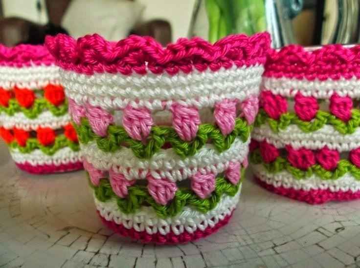 La Magia del Crochet: IDEAS PARA RECICLAR TARROS O ENVASES DE VIDRIO Y FORRARLOS AL CROCHET
