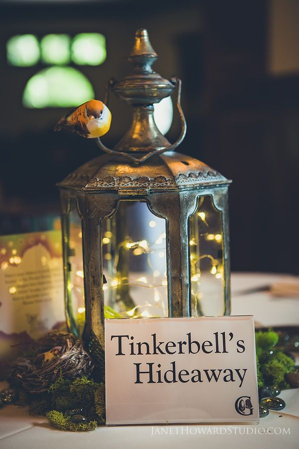 Peter Pan Themed Wedding table centerpieces. Each table was a different location from the book.