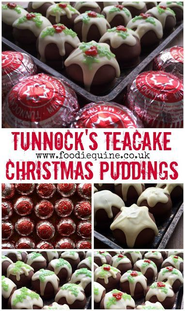 www.foodiequine.co.uk A fantastic festive food hack. Chocolate Tunnock's Teacake Christmas Pudding biscuits. No bake Christmas treat. Such a quick and easy yet super visually impressive no bake Christmas Treat. Perfect for kids to help make. The iconic Scottish Tunnock's Teacake topped with white chocolate and red and green icing becomes a Figgy Pudding!