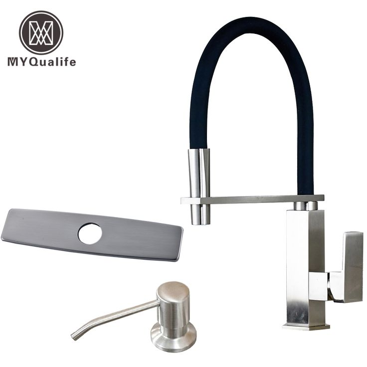 Reviews Deck Mounted Kitchen Sink Taps Brushed Nickel Mixer Stainless Steel Plastic Soap