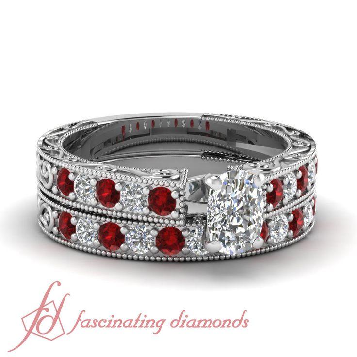 Antique Style Wedding Ring Set 1.15 Ct Ruby And Cushion Cut Diamond In Platinum #FascinatingDiamonds