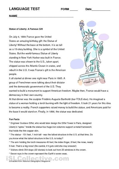 Statue of Liberty Worksheet | classroom Helpers | 2nd ...