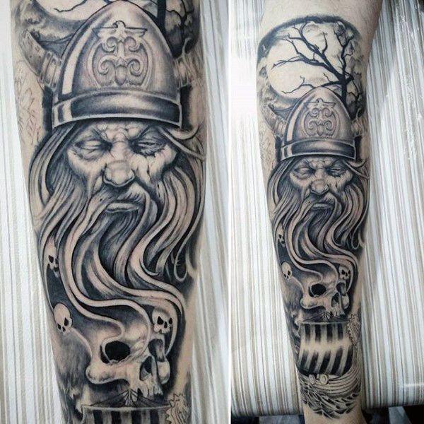Odin Skulls Mens Leg Tattoos
