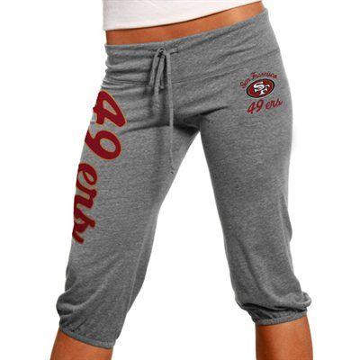 San Francisco 49ers Ladies Touchdown Tri-Blend Crop Pants - Ash