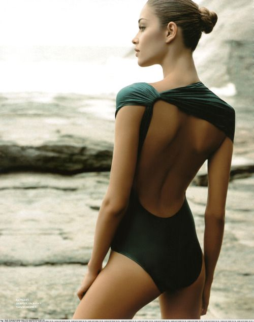 Deep green swimsuit.