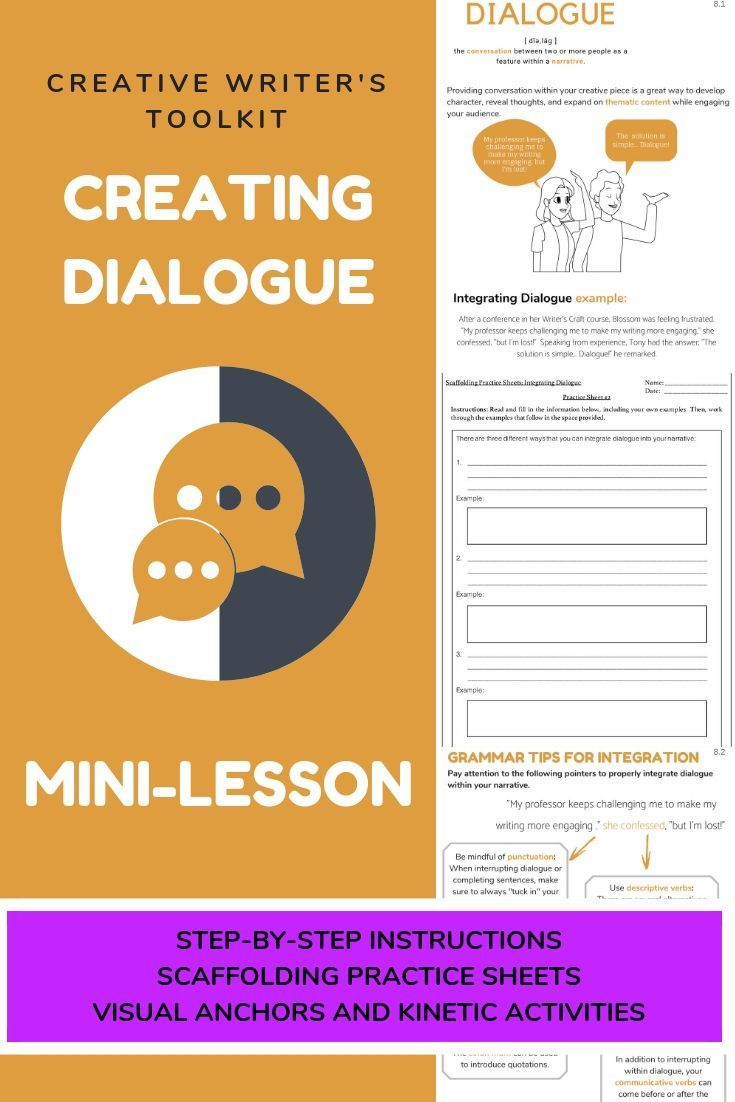 Complete Dialogue Lesson Narrative Writing Grammar Practice Worksheets Step Narrative Writing English Language Arts Classroom Ap Language And Composition [ 1102 x 735 Pixel ]