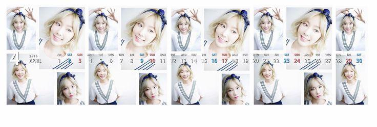 テヨンTwitterヘッダーカレンダー ʕ・ᴥ・ʔღ 1604 - Taeyeon Candy News ☺ Snsd