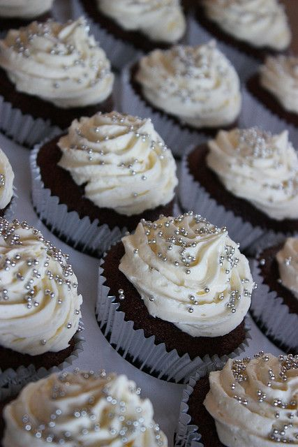Wedding/Anniversary Cupcakes - White with tiny silver dragees