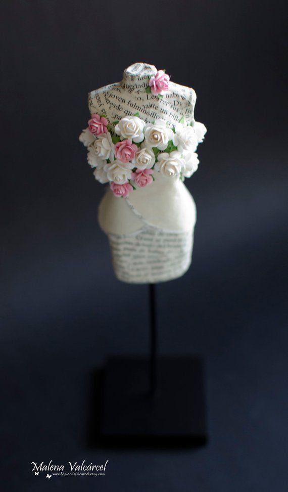 Miniature Paper Mannequin With Tiny Paper Flowers Paper Art By Malena Valcarcel White Paper Flowers Miniature Art Paper Sculpture