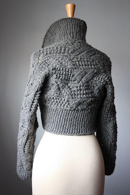 Classic handknit leafy lacy shrug Oxford Grey / dark gray by VitalTemptation , Etsy, via Flickr