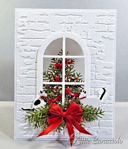 Tarjeta de Navidad hecha a mano ... KC Impresión Obsesión muere ... blanco en relieve panel de la base de ladrillo ... luv los gatos troqueladas peering en el árbol de Navidad ... tarjeta fantástica !!: