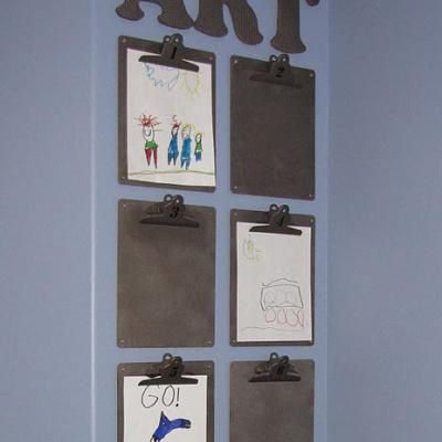 Another good idea for displaying kid art