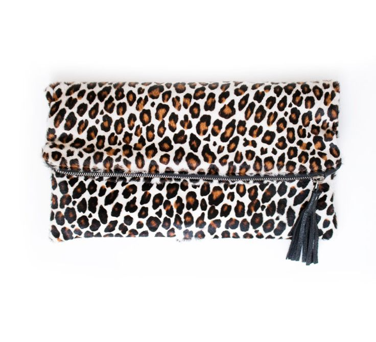 Leopard Calf Hair Clutch, Leopard Fold Over Purse, Large Leopard Party Bag, Leopard Leather Tassel, Wedding Clutch, Leopard Calf Hair Purse by gmaloudesigns on Etsy https://www.etsy.com/listing/245822110/leopard-calf-hair-clutch-leopard-fold