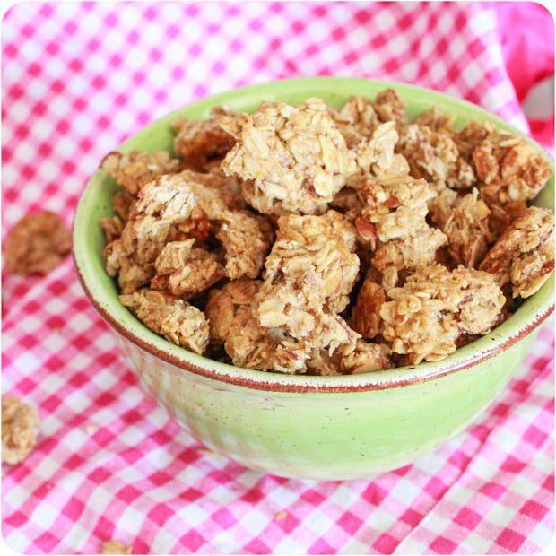 Maple Almond Granola Clusters     http://sallysbakingaddiction.com/2012/05/31/maple-almond-granola-clusters-vegan/