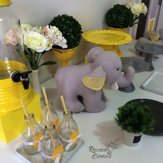 Receber e Celebrar - decoração no tema elefante perfeita pra chá de bebê