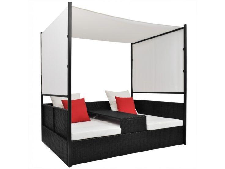 Vidaxl lit double de salon avec baldaquin en poly rotin noir 41967 - Vente de VIDAXL - Conforama