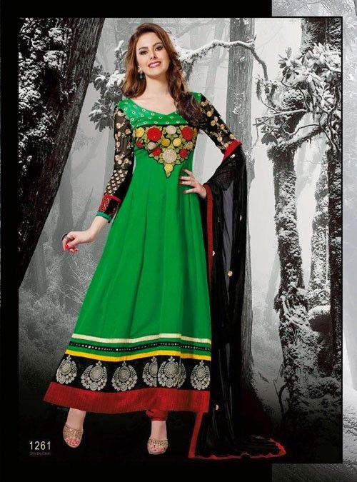 Green Long Length Designer Salwar Kameez
