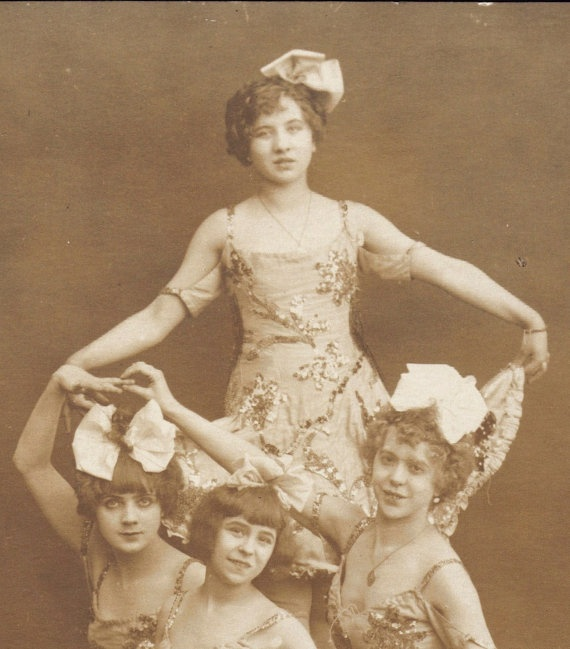 Four Young Ballerinas Pose on a Stage 1900s RPPC by redpoulaine, $16.00